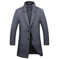 Shanghai Story 2019 Winter Business Long Mens Coat Slim Single Breasted Mens Peacoat Casual Fashion Mens Wool Jacket