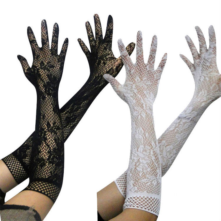 5 Colors Sexy Transparent Lace Elastic Gloves Bride Long-sleeve Gloves Mesh Liturgy Gloves Sexy Gloves Lace