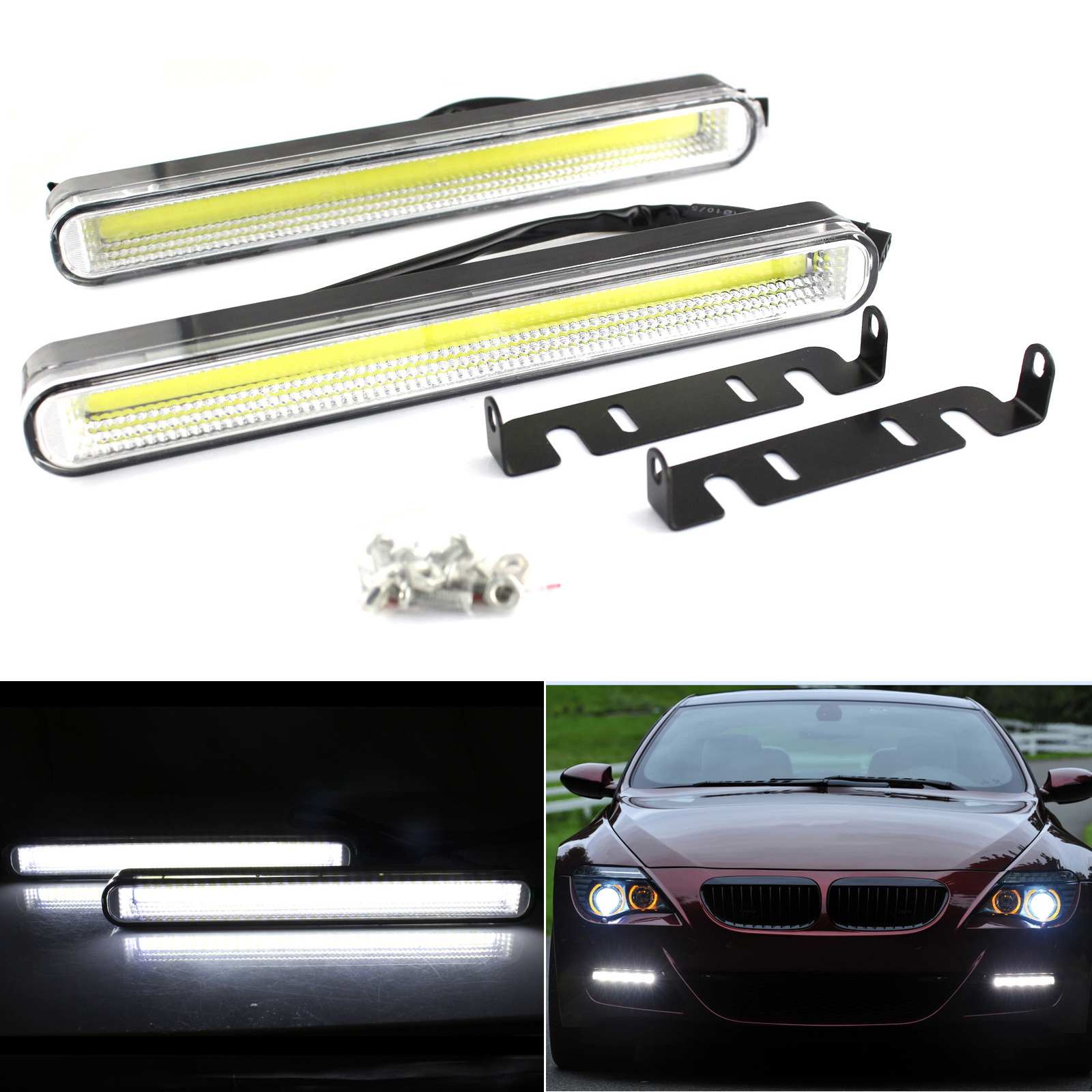 2PCS Car COB 99 LED Car Auto DRL Daytime Running Light Source Fog Lamp Bulb 1500LM 6000K White DC12V