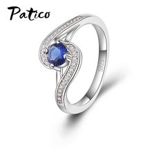 PATICO Geometric Women Luxury Blue Zirconia Rings 100% 925 Stamped Sterling Silver Rings High Quality Femme Rings Wholesale(China)
