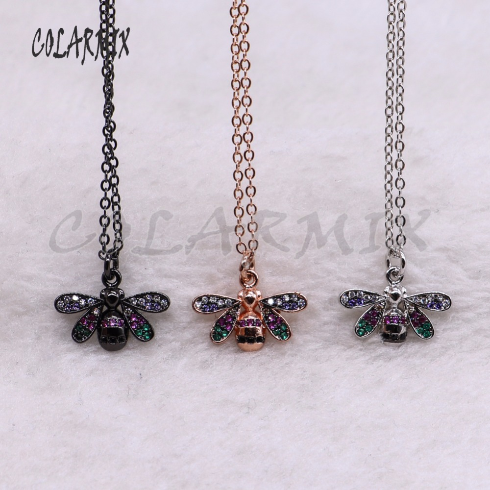 5 strands tiny bugs necklace for lady Bee pendants small size jewelry 18 mix color necklace pets beads 3741