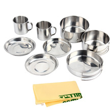 8pcs Stainless Steel Outdoor Multi-purpose Cookware Lunch Box Set Camping