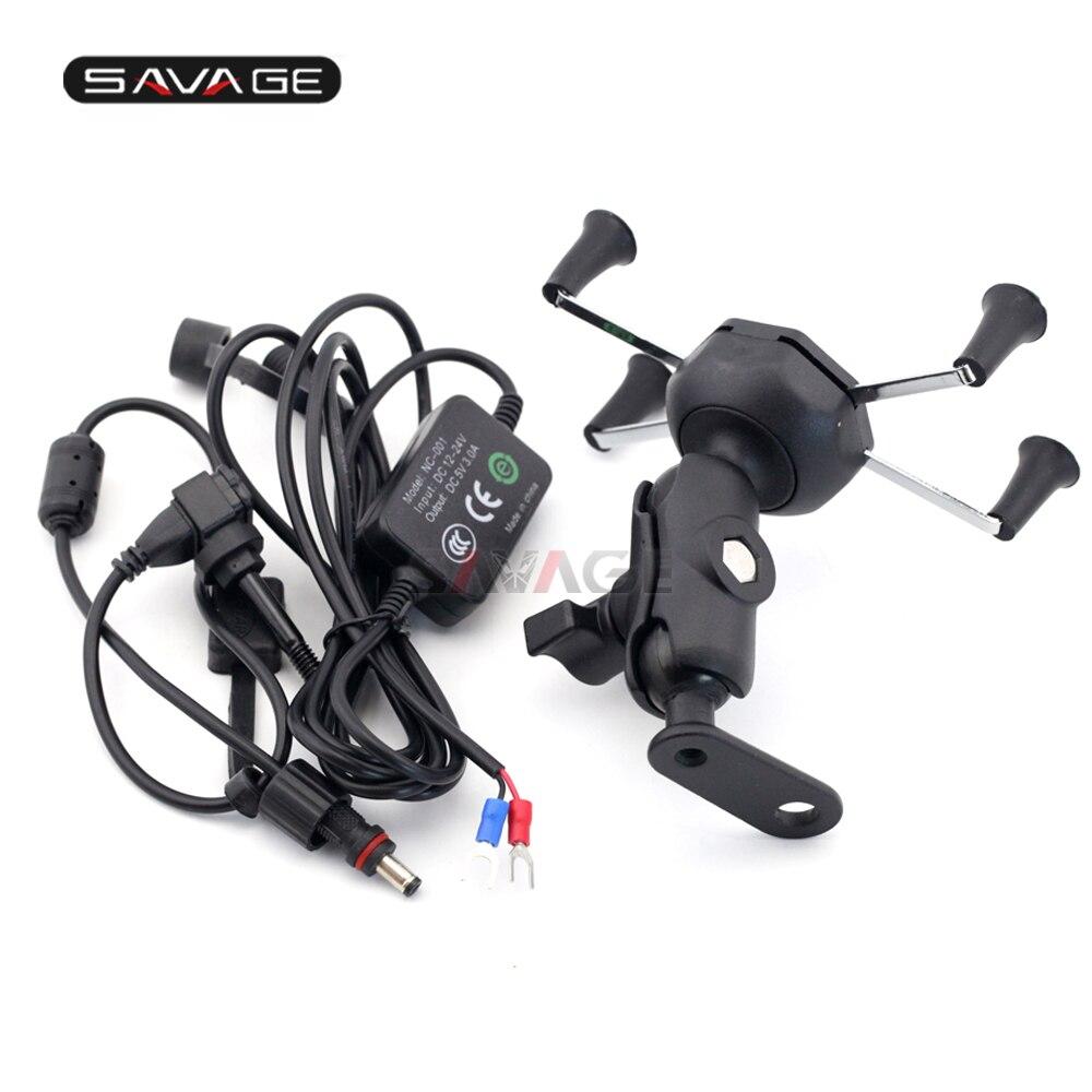 Phone Holder USB Charger For HONDA NC700 NC750 S/X CTX700/DCT CTX1300 ST1300 Motorcycle GPS Navigation Mount Bracket X-Grip цена