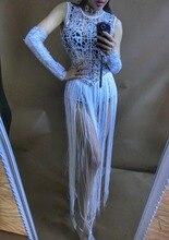 women sequins one-piece rhinestone tassel net dress jumpsuit female singer Perspective DS DJ dance stage costumes bodysuit