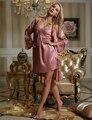Pijamas Direct Selling Real 2017 Moda Twinset Sets Robe de Mulheres Imitação Conjunto de Lingerie Roupa De Noite Suave Sleepwear Mancha 8203