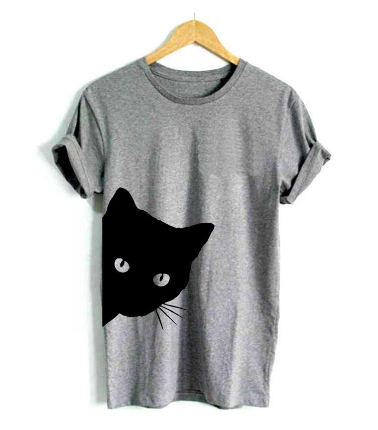 Kot wyglądający z nadrukiem z jednej strony koszulka damska bawełniana na co dzień zabawna koszulka damska koszulka z nadrukiem Hipster Tumblr 6 kolorów Drop Ship Z-1056 1
