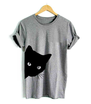 cat looking out side Print Women tshirt Cotton Casual Funny t shirt Lady Girl Top Tee Hipster Tumblr 6 Color Drop Ship Z-1056 water color planet print tee