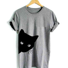 cat looking out side Print Women tshirt Cotton Casual Funny t shirt Lady Girl Top
