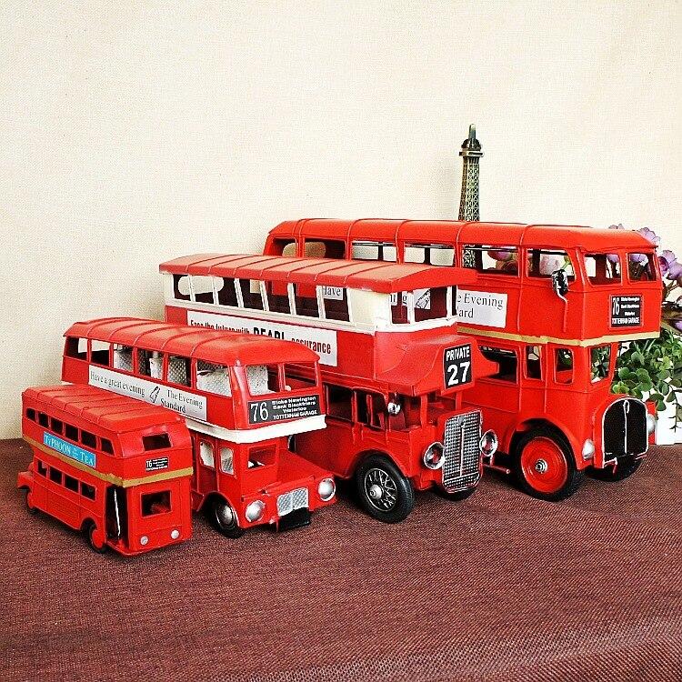 Hot Selling! London Street Iron Double-decker Bus Model Metal Car Model Handmade Classic Car Gift S/M/L/XL Size Free Shipping