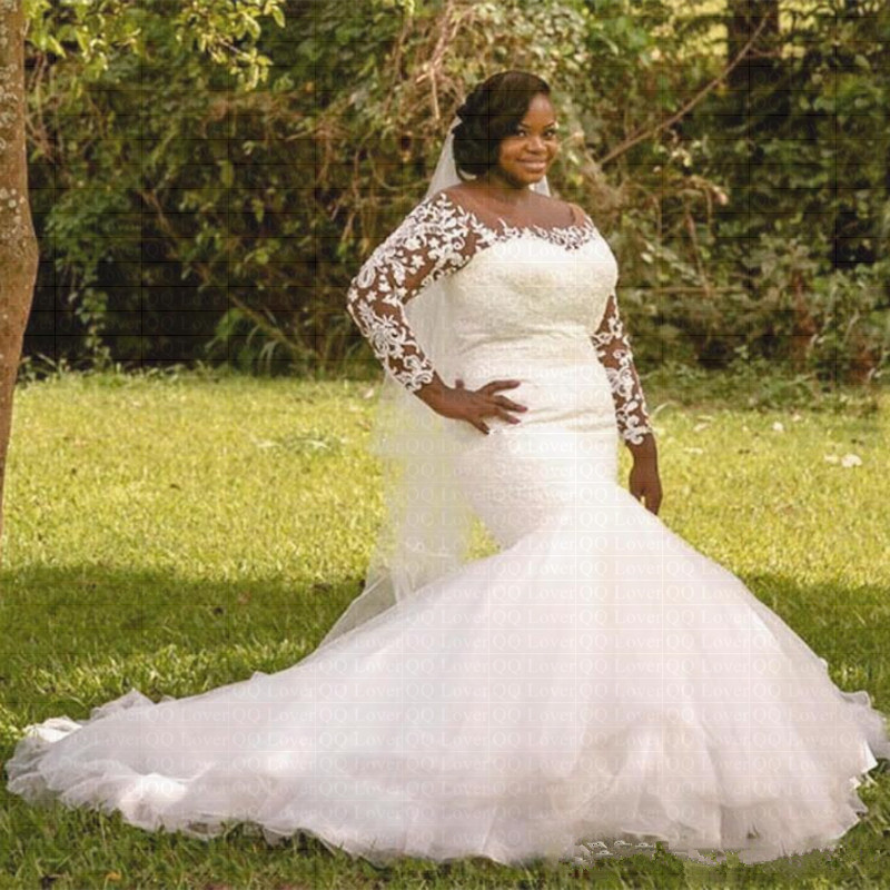 2019 New African Stunning Long Sleeve Mermaid Wedding Dress Lace Bridal Gowns