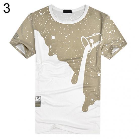 Men's Fashion Summer Milk Poured Pattern Printed Short Sleeve Round Neck T-shirt
