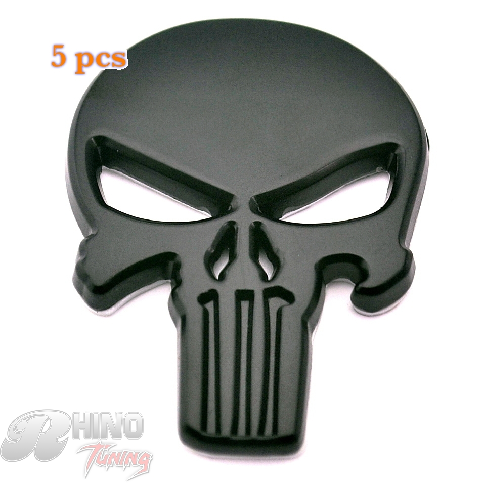 Rhino Tuning 5pcs THE Punisher Skull NEW 3D black Car Motorcycle Metal Skeleton Badge Auto body SRT Charger Emblem