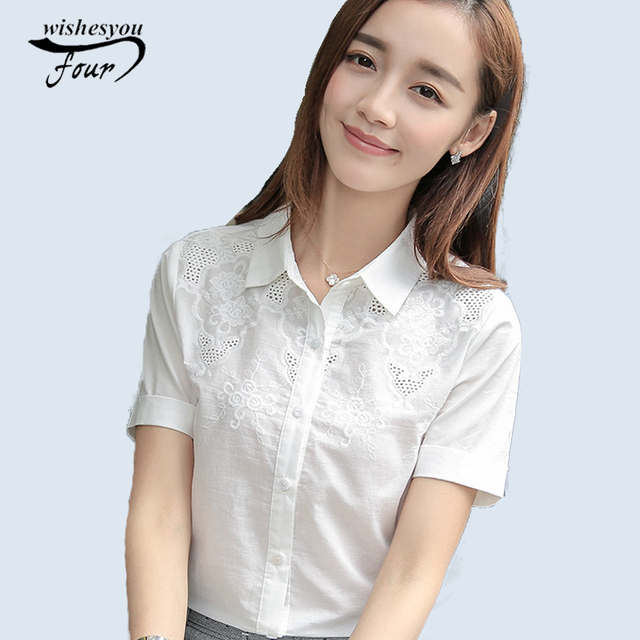 819541ca03877 2017 new fashion female short-sleeved solid color shirt tops office lady  wear blouse basic