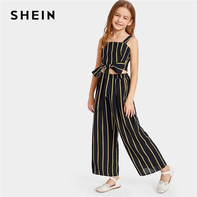 Шеин, детский черный укороченный топ в полоску с галстуком на талии и свободные штаны, детская одежда для девочек, 2019 летний детский комплект одежды без рукавов
