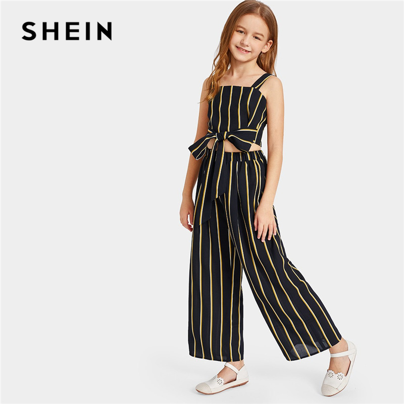 SHEIN Kiddie Black Tie Waist Striped Crop Top And Wide Leg Pants Girls Child Outfits 2019 Summer Sleeveless Kid Clothes Suit Set puff sleeve crop top and wide leg pants set