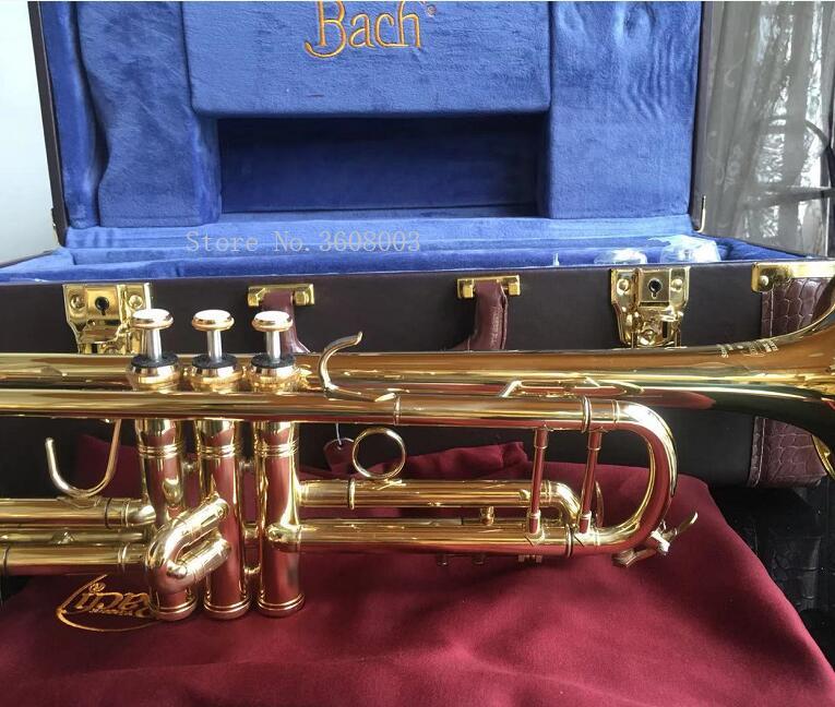 Nouveau trompette or laqué LT180S-72 B plat professionnel trompette cloche Top Instruments de musique + étui bleu