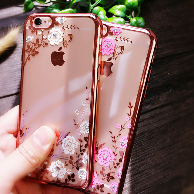 For iPhone 7 Plus 5S SE 6 6S Plus Case Chic Flower Flora Bling Diamond Rhinestone Clear Soft TPU Cover For Capinha iPhone 7 Case