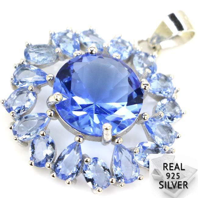 Guaranteed Real 925 Solid Sterling Silver 3.3g Deluxe Round Rich Blue Violet Tanzanite CZ Pendant 29x22mmGuaranteed Real 925 Solid Sterling Silver 3.3g Deluxe Round Rich Blue Violet Tanzanite CZ Pendant 29x22mm