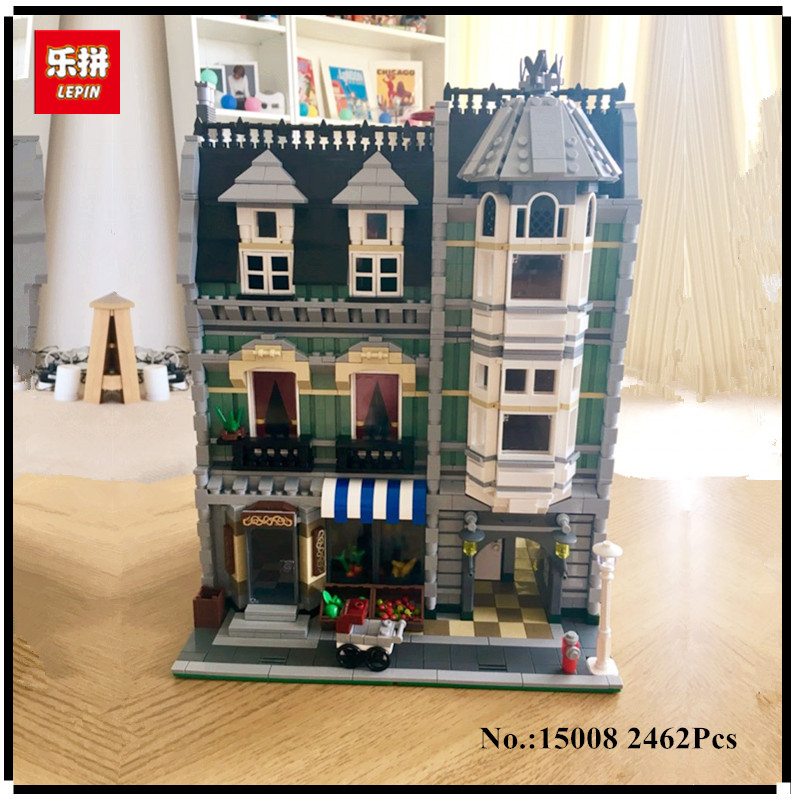 IN-STOCK 2462Pcs free shipping Lepin 15008 City Street Green Grocer Model Building Kits Blocks Bricks Compatible 10185 lepin 15008 new city street green grocer model building blocks bricks toy for child boy gift compatitive funny kit 10185 2462pcs