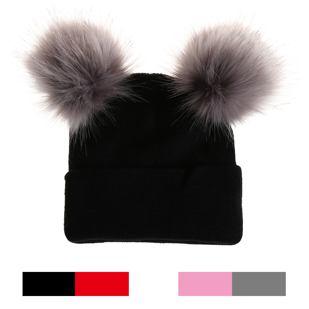 Women Girls Warm Winter Caps Double Fur Pom Pom   Beanie   Wool Knitted Hat For Girls Pompom Raccoon Balls   Beanie   Cap Bonnet mut