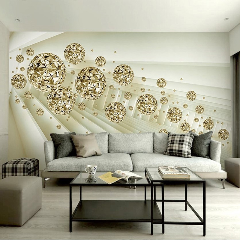 Painting Supplies & Wall Treatments Home Improvement Beibehang Custom Wallpaper 3d Murals Upscale European 3d Stereo Ball European Architectural Space Living Room Tv Background