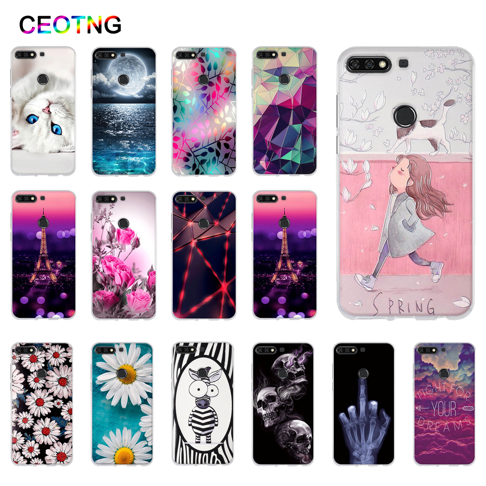 Silicone Case for Huawei Y7 2018 Case TPU Back Cover for Huawei Honor 7C 5.99'' Phone Covers Y7 Prime 2018 Case Y7 Pro 2018-in Fitted Cases from Cellphones & Telecommunications