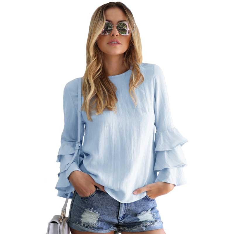Fashion Women Blouses Shirts 2017 Autumn Elegant Ladies O Neck Flounce Long Sleeve Solid Blusas Casual