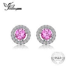 JewelryPalace Ronde 1.4ct Créé Saphir Rose 925 En Argent Sterling Boucles D'oreilles Pour Les Femmes Charmes 2016 Mode Argent Boucles D'oreilles