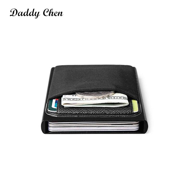 RFID Porte cartes aluminum et simili cuir homme femme portefeuille
