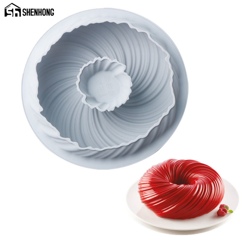 SHENHONG New Arrival Vortex Dense Line Cake Moulds Silicone Mold For Baking Mould Bakeware Chocolate Tools Pastry Pan Decoration