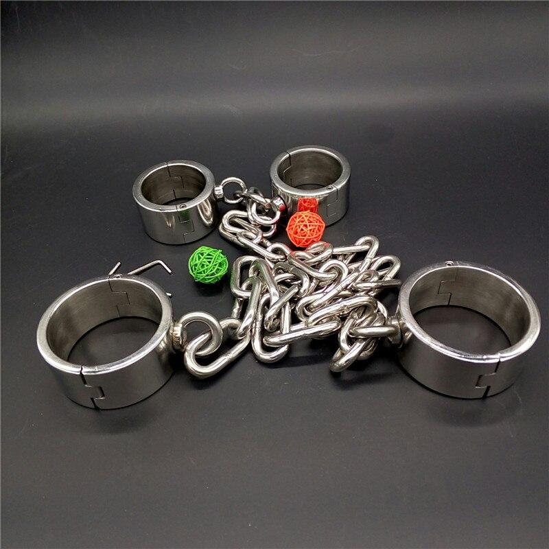 Stainless Steel Heavy Handcuffs for sex+Legcuffs bondage kit sex slave fetish bondage restraints toys sex adult toys for couples