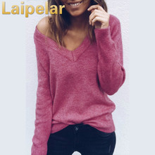 2018 Elegant Cashmere Sweater and Pullovers Women Sexy V-neck Knitted Loose Tops Female Autumn Winter Jumper Laipelar