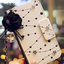 Фотография Chain Crystal Flower Leather Case with Dust plug Rhinestone Flip Card Wallet Cover for Samsung Galaxy S7/ S7 Edge Coque Capa