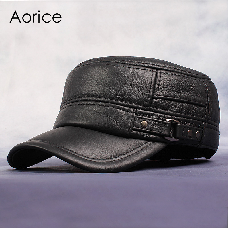 90aaa9c027f Pudi Cow Leather Flat Peak Baseball Cap Hats for men winter warm army hat  adjustable ear flat black brown cap HL064