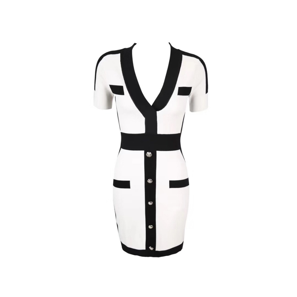 Bouton 2019 Lacée V Femmes Celebrity Date Robe Directe Livraison Élégant Moulante Manches Blanc Party Cou Courtes 1dTtwO