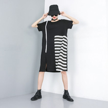 Women Summer Striped Spliced Short Sleeve Loose Fashion T Shirt Dress Female Streetwear Gothic Oversized O-neck Casual Dresses