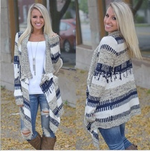 knit woman sweater autumn cardigan casual long female cute striped color block open stitch