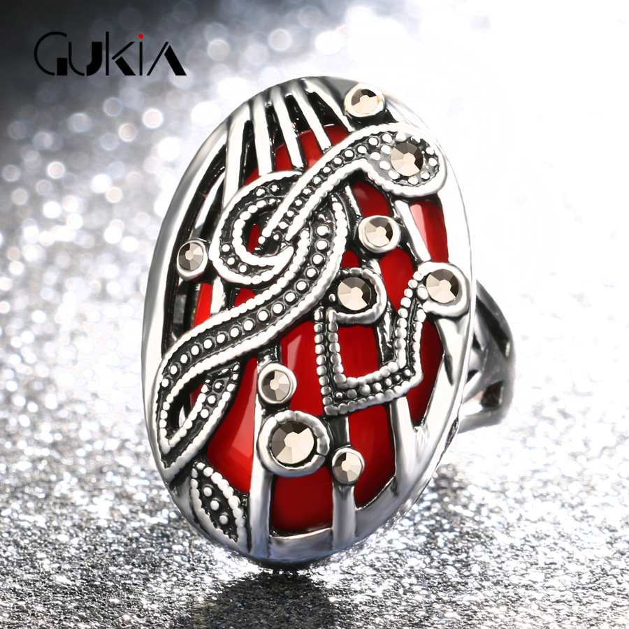 Gukin Musical Note Design Women Fashion Wedding Ring Multicolor selection Silver Plated Rings For Women Engagement Jewelry