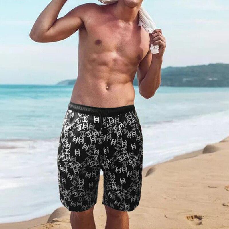100 soie Homme pantalon marque 100% soie natation Shorts été plage impression Shorts pantalon respirant maillots de bain hommes court Sport Homme - 5