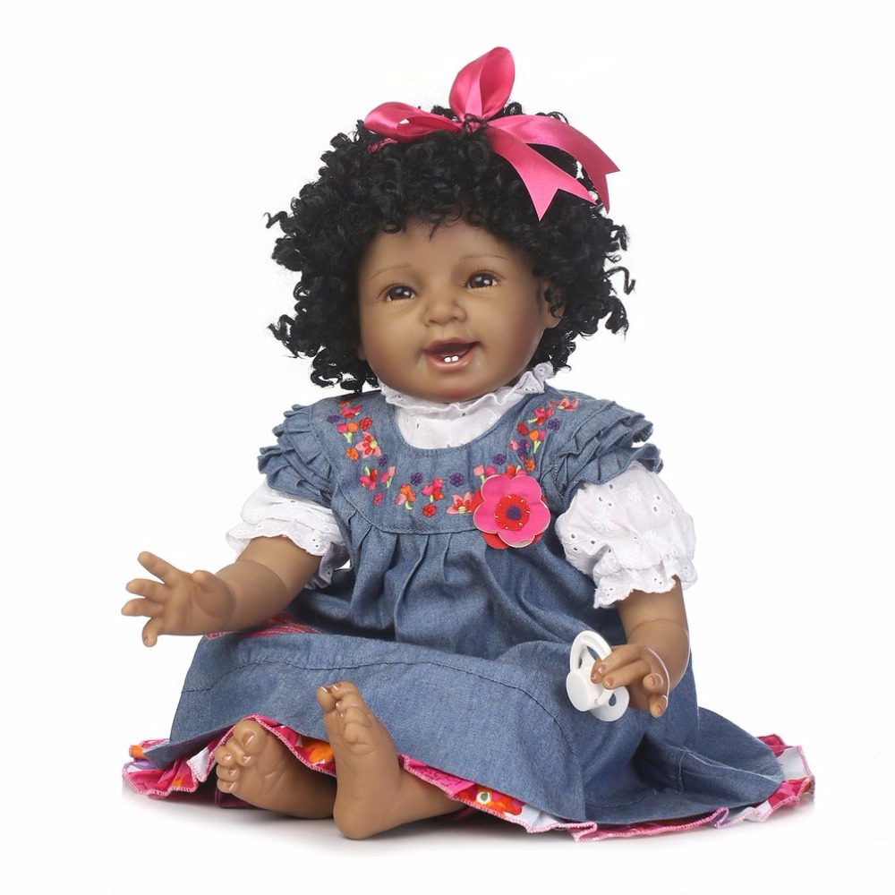 55CM Soft Baby African American Black Skin Silicone Reborn Dolls Toy Lifelike Fashion Smile bebe-reborn Doll Toys for Girls Gift new native american black skin african ethnic bonecas reborn dolls 55cm soft silicone vinyl reborn baby dolls with black hair