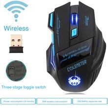 Super Caliente Gamer Ratón Inalámbrico Juego Del Ratón Óptico 2400 DPI 2.4G Ratón de la Computadora ECHTPower Nighthawk F14 LED ratón de Juego 7D ratones