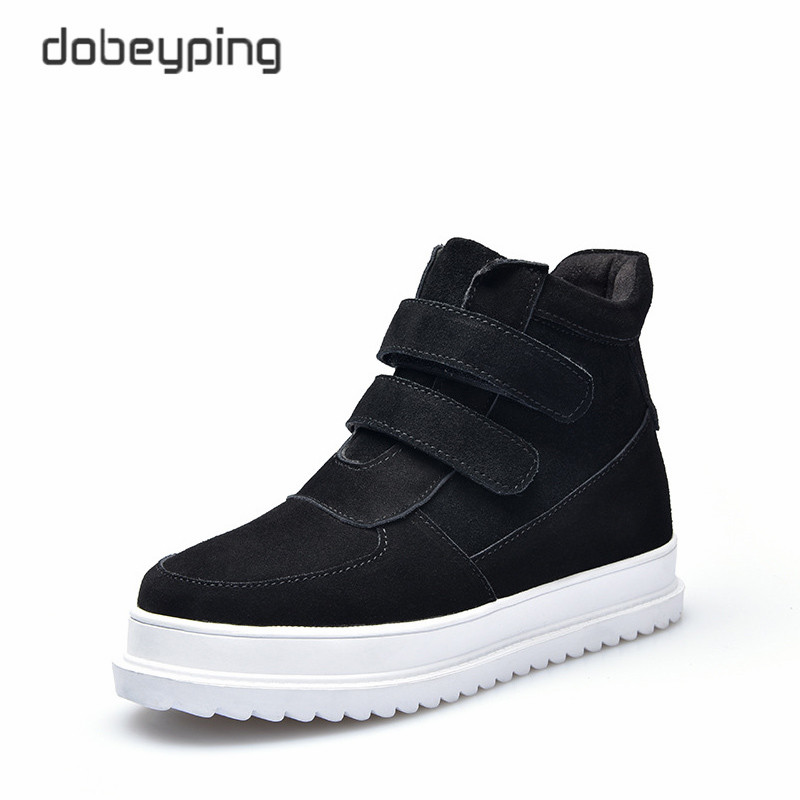 dobeyping 2017 Women's Boots Plush Winter Snow Shoes Ladies Keep Warm Female Ankle Botas Cow Suede Leather Casual Shoes Women 2017 cow suede genuine leather female boots all season winter short plush to keep warm ankle boot solid snow boot bota feminina