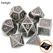 Battleworn Серебряный набор из 7 металла Dice Die D4 D6 D8 D10 (00-90,0-9) D12 D20 для ролевых игр Подземелья и Драконы Pathfinder