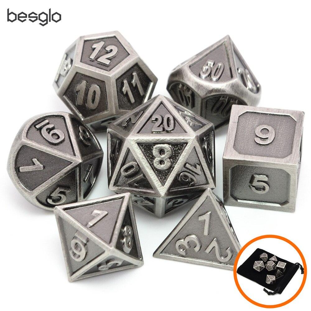 Battleworn prata conjunto de 7 dados de metal morrer d4 d6 d8 d10 (00-90,0-9) d12 d20 para jogos de role playing dungeons e dragões pathfinder