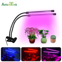 AmmToo LED Grow Light 40leds Dimmer Growing Tube Light 360 Degree Double Tube Plant Grow Lamp For Indoor Hydroponic Vegetable