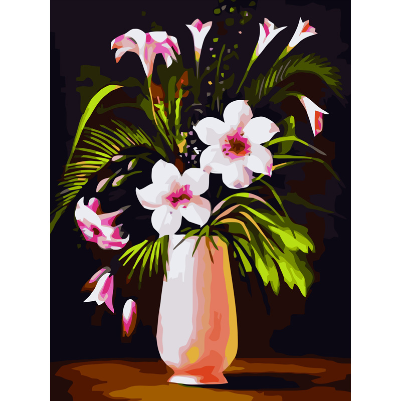 flowers vase with Frame wall picture painting by numbers ...