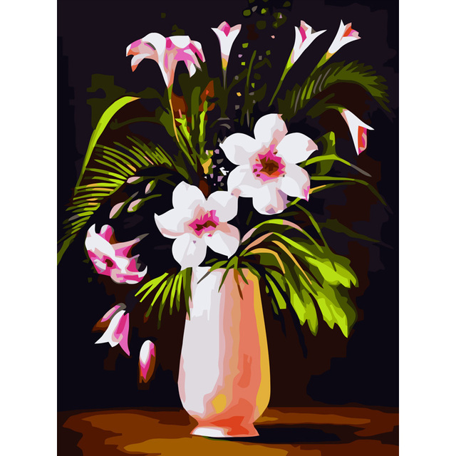 Flowers Vase With Frame Wall Picture Painting By Numbers Canvas