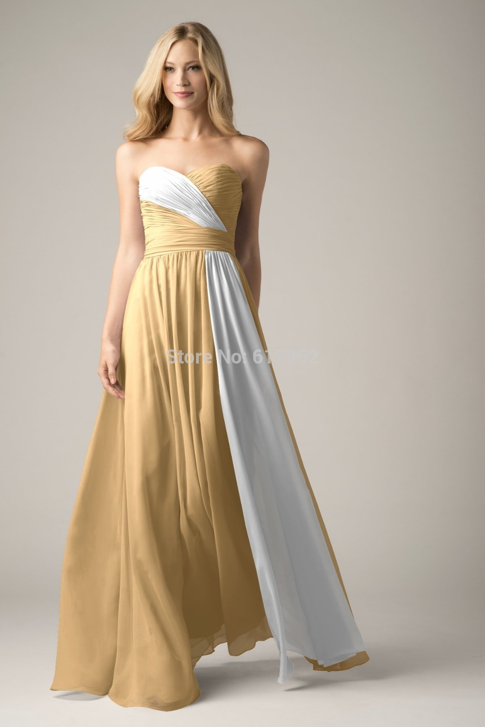 white and gold wedding dresses 2017 new strapless chiffon white gold prom dress in 1297