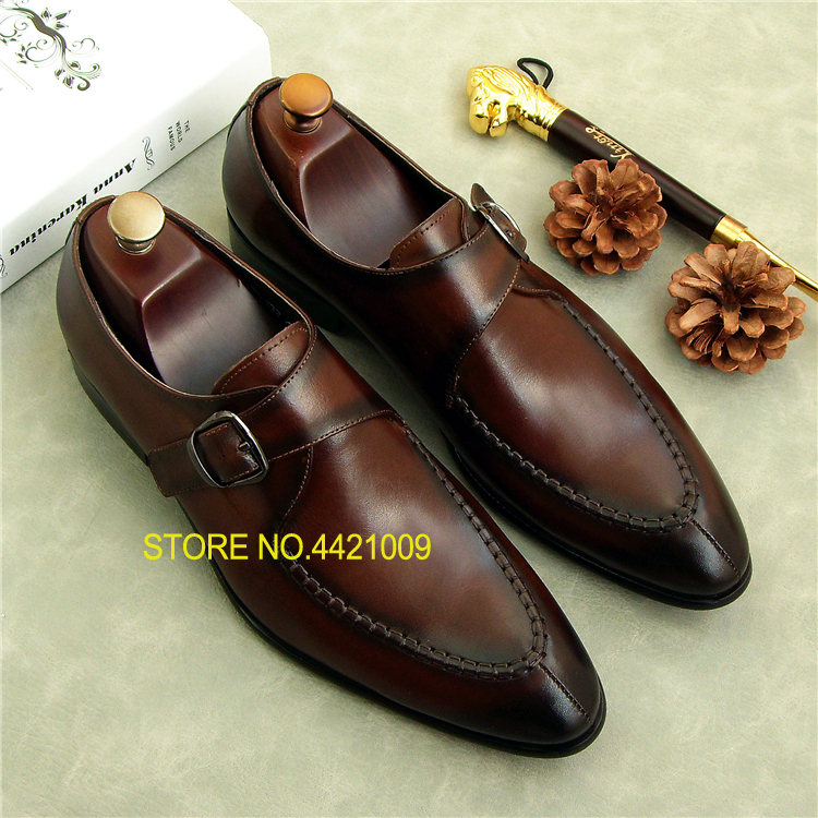 Real Leather Fashion italy Male Derby Oxfords Shoes 2018 Buckles Spring Autumn Slip On Dress Tuxedo Suits Oxfords Shoes ch kwok crocodile leather mens dress wedding oxfords slip on male business suits tuxedo oxfords spring autumn man derby shoes