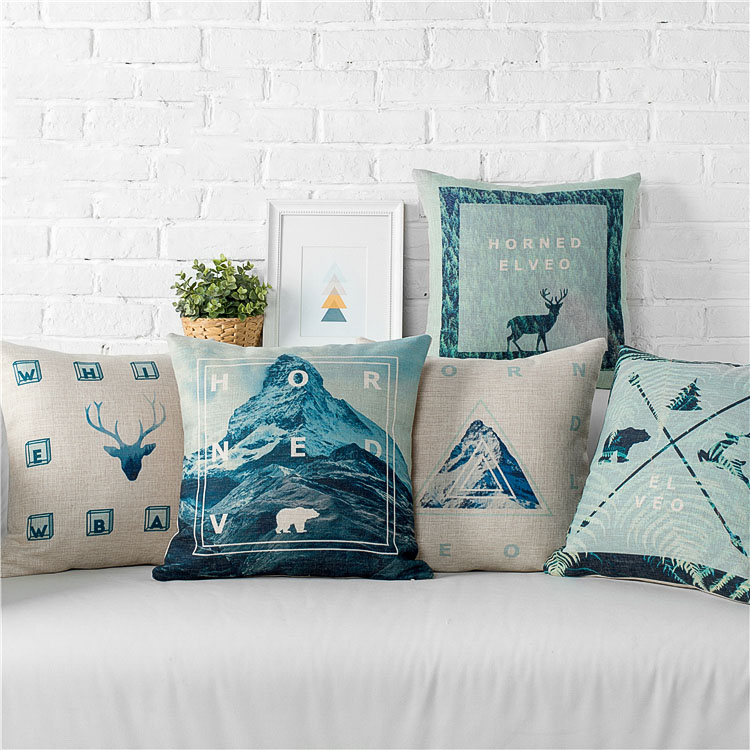 product Wholesales Linen Pillow Cover Cushion Cover Deer Head Pola Bear Geometric Mountain Home Decorative Pillow Case 45x45cm